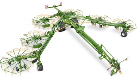 Swadro keturių ir šešių rotorių, formuojantys centrinę sąvalką grėbliai