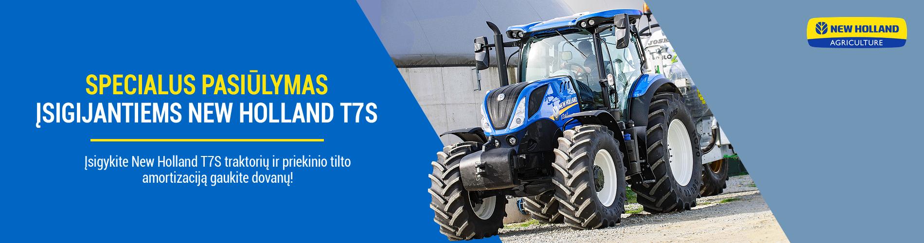 NEW HOLLAND T7S – patikimas traktorius Jūsų ūkiui už specialią kainą + DOVANA!